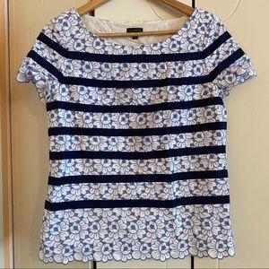 Talbots Short Sleeve Crochet Top